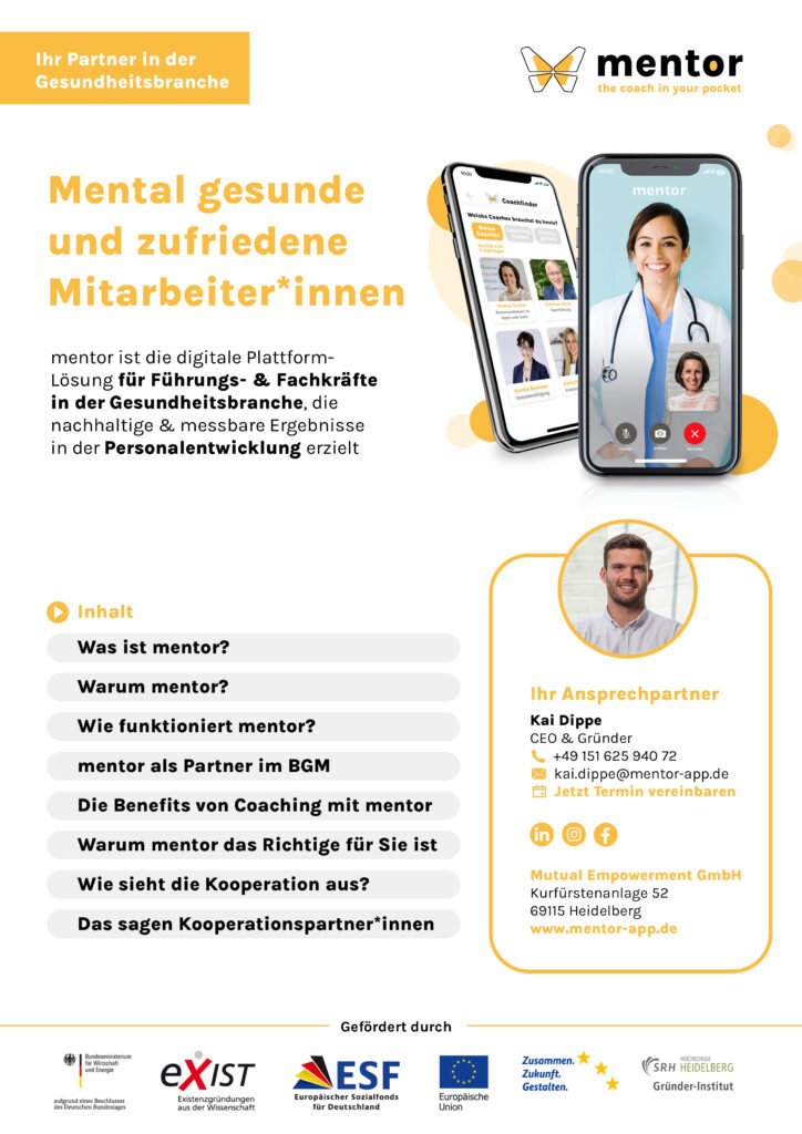 Mentor Whitepaper für Unternehmen und Gesundheitseinrichtungen